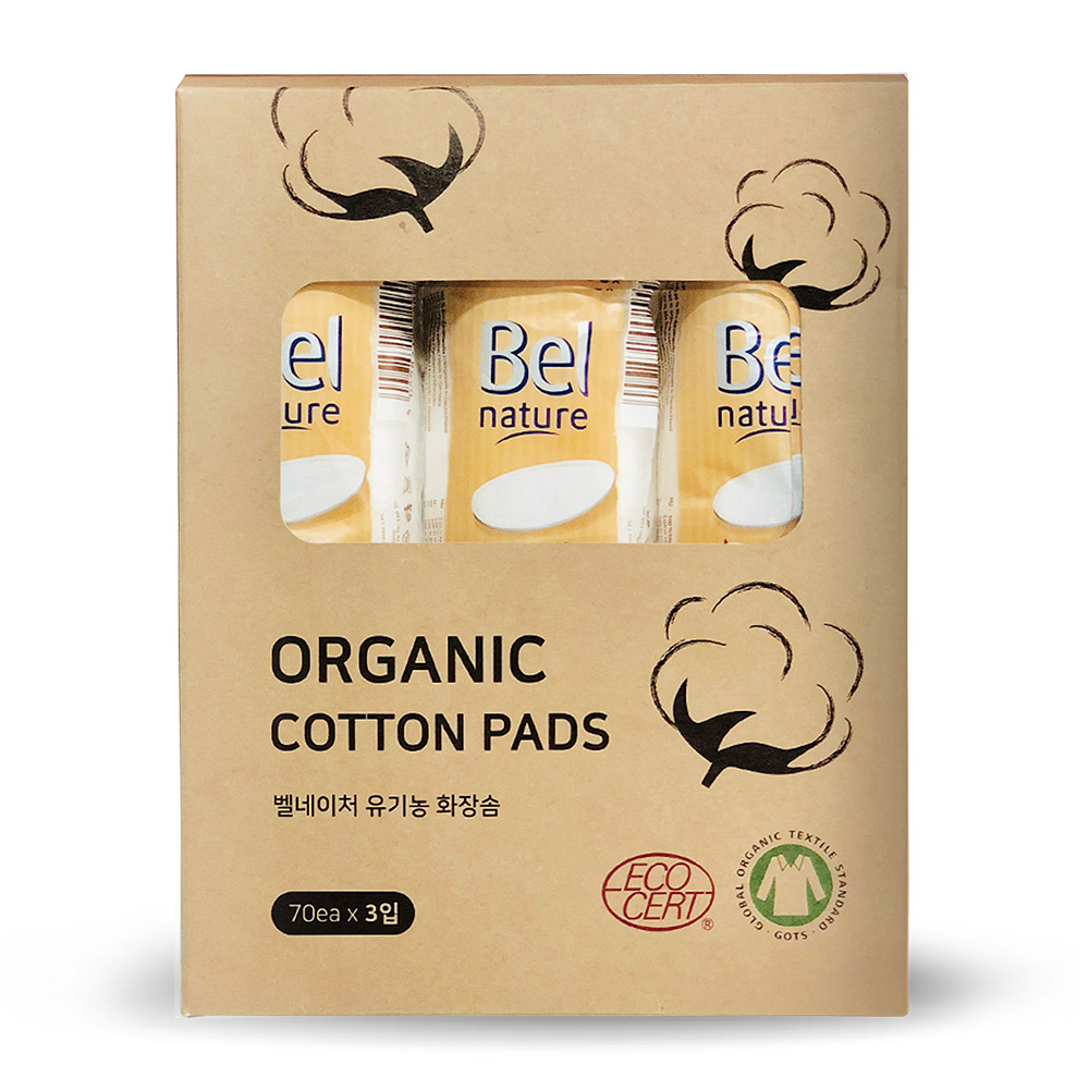 [기획]Bel Nature 유기농화장솜(원형/70ea) X3개