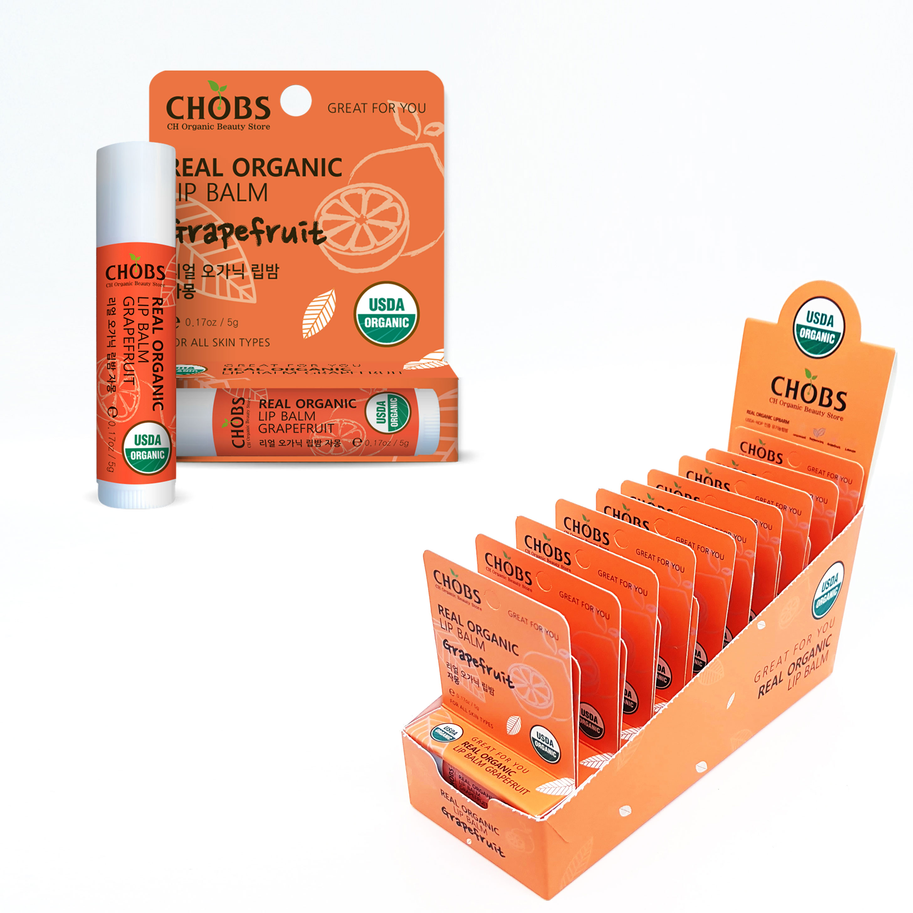 [USDA]CHOBS(찹스)유기농 립밤 자몽 (5g*20EA/1RRP BOX)